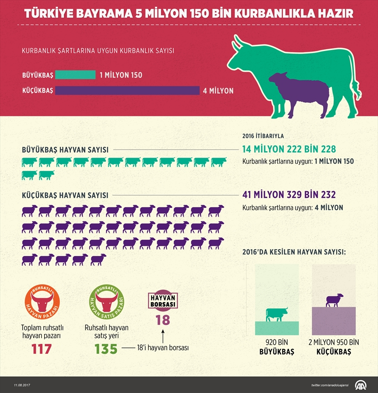 Türkiye bayrama 5 milyon 150 bin kurbanlıkla hazır