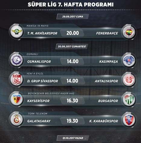 Süper lig 7.hafta programı