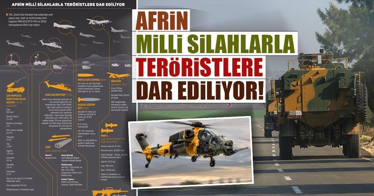 Afrin milli silahlarla teröristlere dar ediliyor