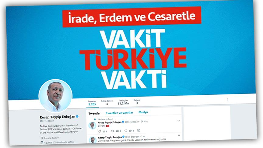 Erdoğan sosyal medyada liderler arasında ilk 5'te