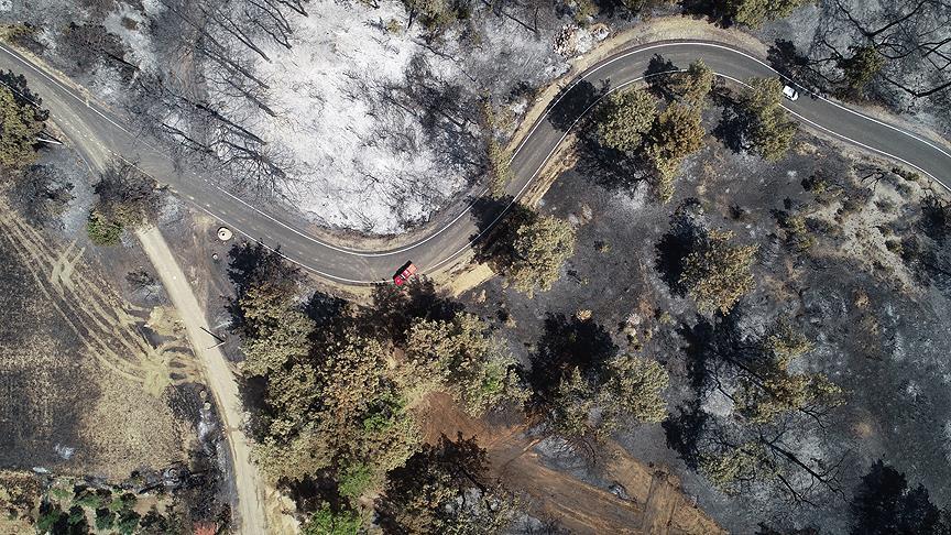 Antalya'daki orman yangını havadan görüntülendi