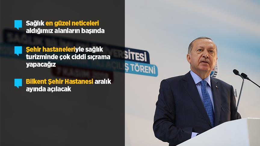Erdoğan: Sağlık bizim en güzel neticeleri aldığımız alanların başında