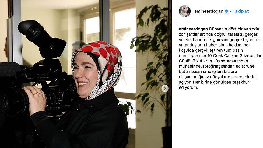 Emine Erdoğan'dan 'Çalışan Gazeteciler Günü' paylaşımı