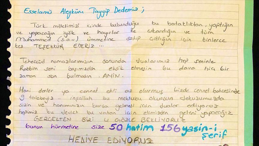 Cumhurbaşkanı Erdoğan'a öğrencilerden dua dolu davet mektubu