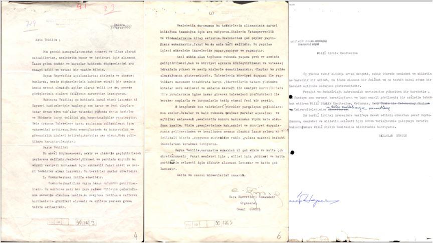 'Mektup, telgraf ve mesajlardaki 27 Mayıs'