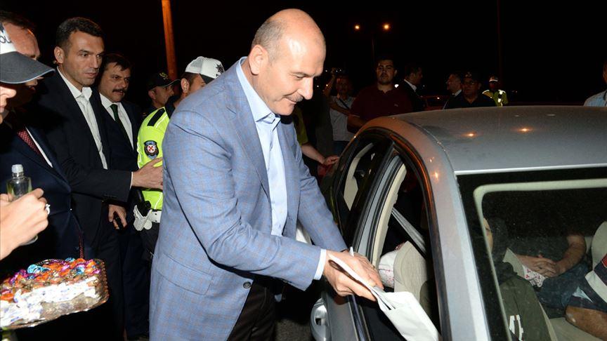 İçişleri Bakanı Soylu Çorum ve Amasya'da trafik denetimine katıldı