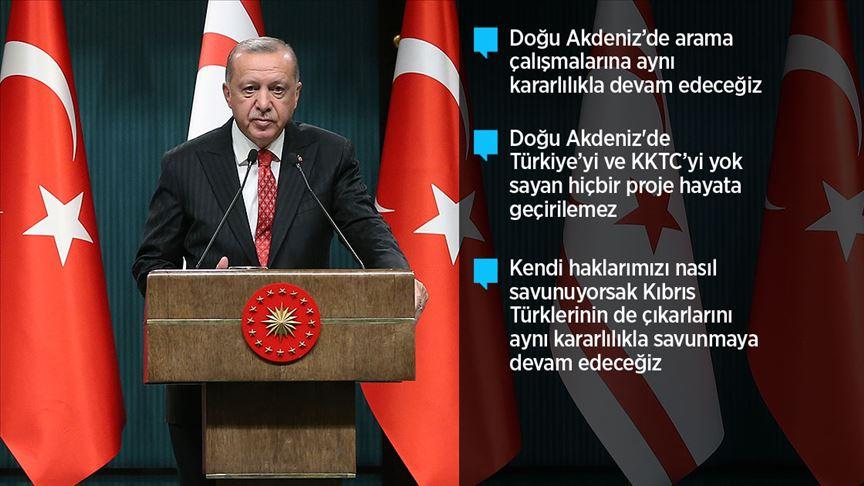 Erdoğan: Doğu Akdeniz'de arama çalışmalarına aynı kararlılıkla devam edeceğiz