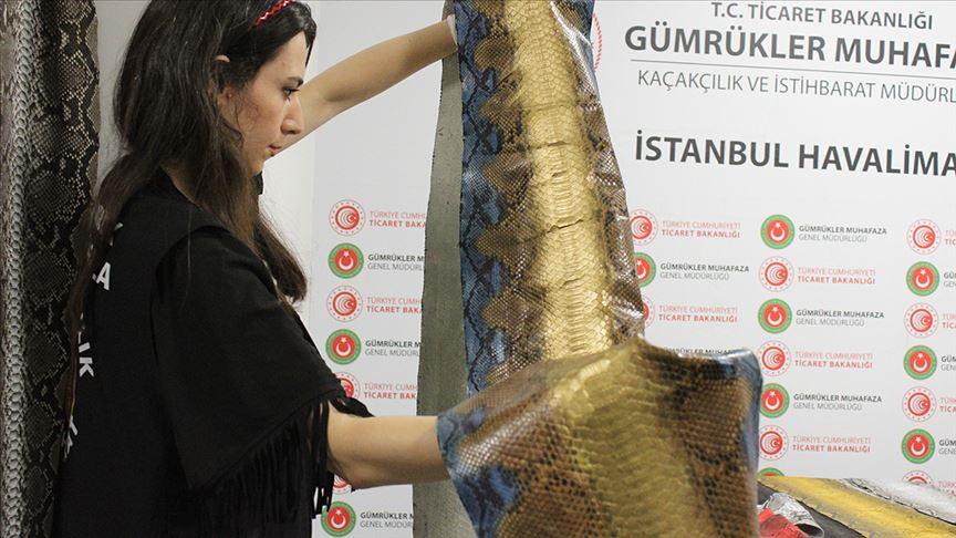 İstanbul Havalimanı'nda 320 bin liralık yılan derisi ele geçirildi!