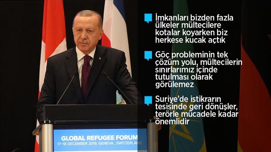 Erdoğan: Mülteci meselesi birkaç ülkenin çabasıyla önlenemez!