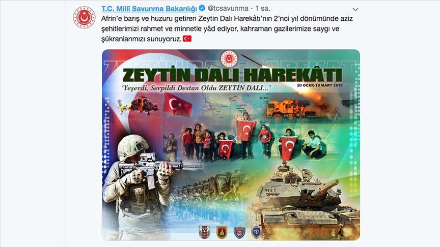 MSB'den Zeytin Dalı Harekatı'nın ikinci yıl dönümüne özel paylaşım