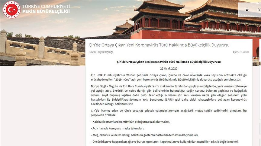 Türkiye'nin Pekin Büyükelçiliğinden Çin'e seyahat edecek vatandaşlara uyarı