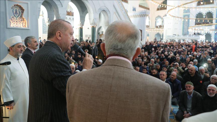 Cumhurbaşkanı Erdoğan, cuma namazının ardından cemaate seslendi
