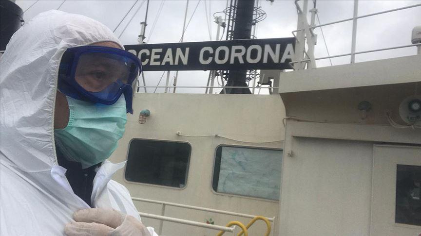 Kıyı Emniyeti 'Ocean Corona' boğazdan geçerken 'EvdeKalTürkiye' çağrısı yaptı
