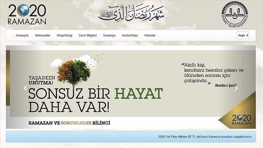 Diyanetin ramazana özel sitesi güncellendi!