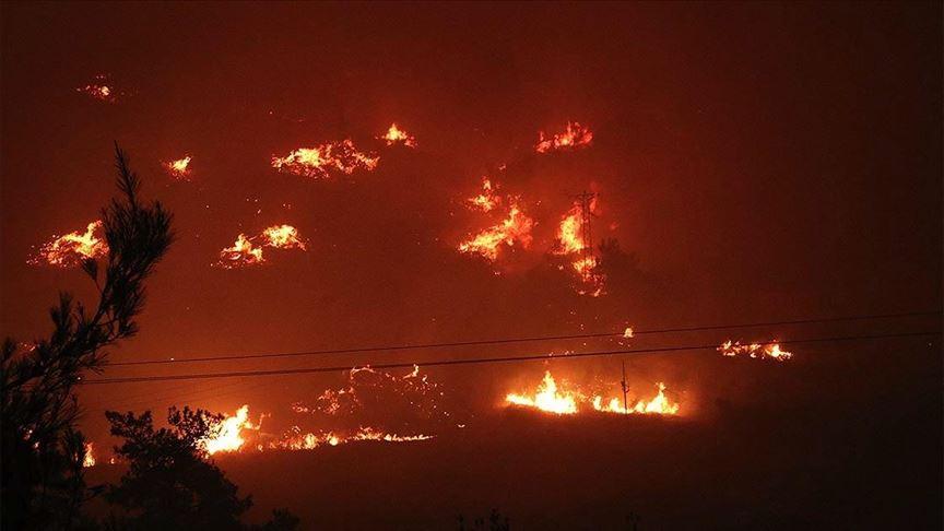 İzmir'deki orman yangını sebebiyle boşaltılan bir site yandı