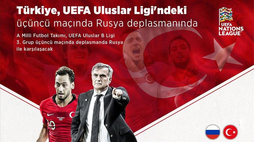 Türkiye UEFA Uluslar Ligi'ndeki üçüncü maçında Rusya deplasmanında