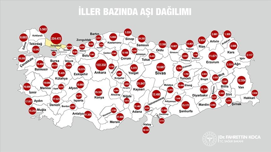 1,2 milyon aşı Türkiye'nin tamamına ulaştı!