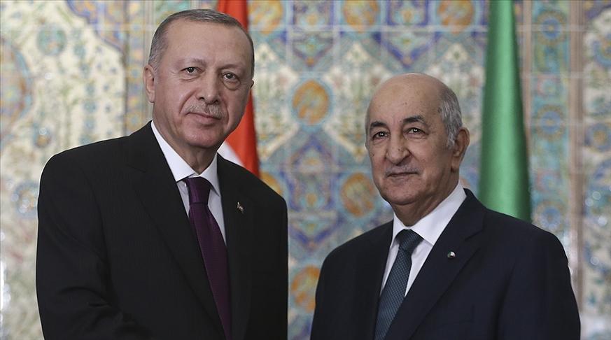 Erdoğan ile Cezayir Cumhurbaşkanı Tebbun İsrail'in saldırılarını görüştü