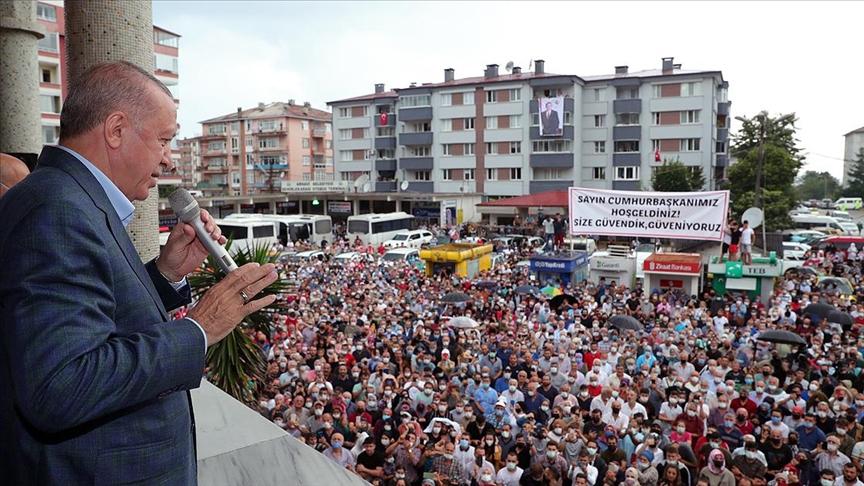 Erdoğan: Arhavi'de hasar tespit çalışmaları sürüyor, hak sahiplerine ödemeler en kısa zamanda yapılacak