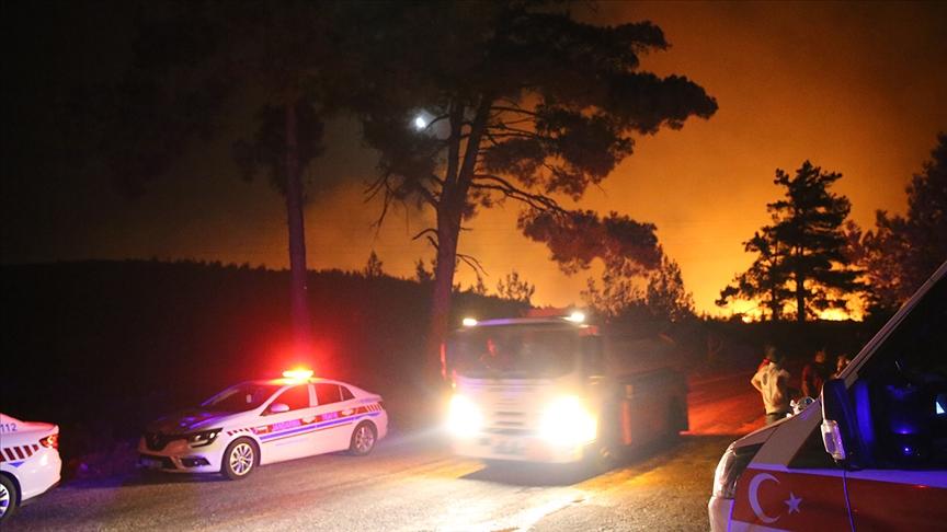 Milas'ta başlayıp Bodrum ilçesine sıçrayan orman yangınına müdahale ediliyor