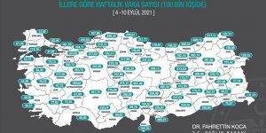 İllere göre her 100 bin kişide görülen Kovid-19 vaka sayıları açıklandı!