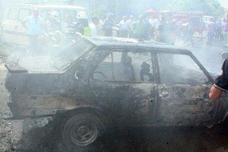 Kaynak yapılan kamyonun yakıt deposu patladı