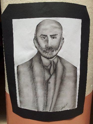 Liseli ressam, öğretmenlerinin kare kalem resimlerinden sergi açtı