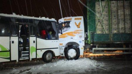 Midibüs ile tavuk yüklü kamyon çarpıştı: 1 yaralı