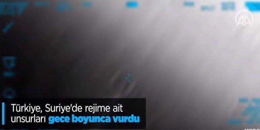 Türkiye, Suriye'de rejime ait unsurları gece boyunca vurdu!