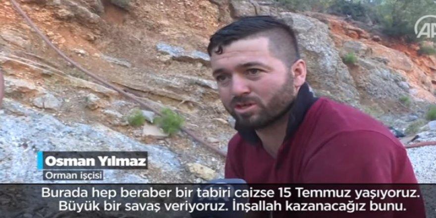 Orman işçisi ile alevlere müdahale için gönüllü olan vatandaşın örnek yardımlaşması